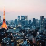 High angle view of Tokyo skyline at dusk, Japan